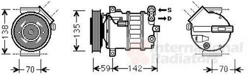 Compresseur, climatisation - VAN WEZEL - 0100K131