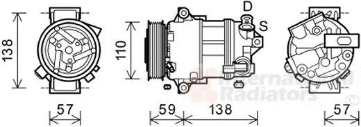 Compresseur, climatisation - VAN WEZEL - 0100K133