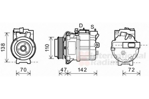 Compresseur, climatisation - VAN WEZEL - 0200K208