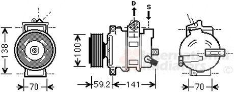 Compresseur, climatisation - VAN WEZEL - 0300K329