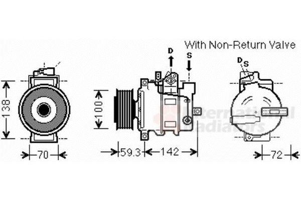 Compresseur, climatisation - VAN WEZEL - 0300K334