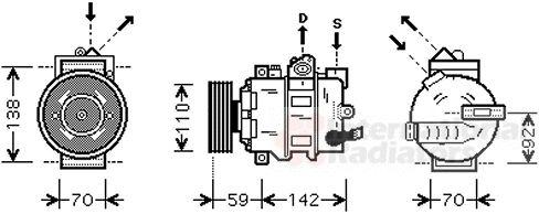 Compresseur, climatisation - VAN WEZEL - 0300K349