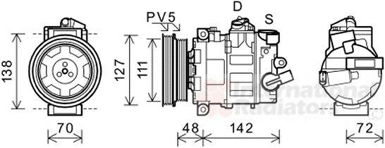 Compresseur, climatisation - VAN WEZEL - 0300K359