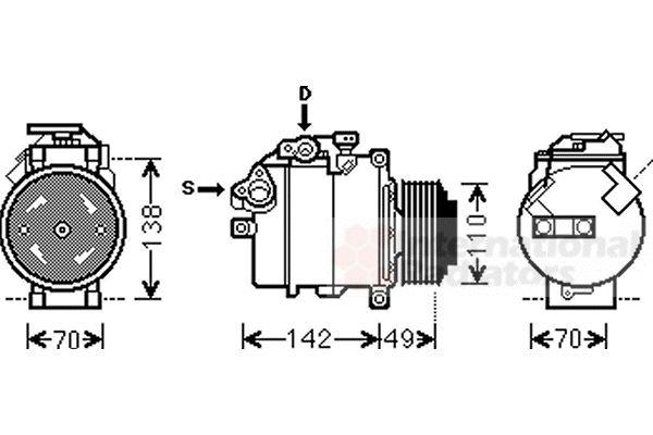 Compresseur, climatisation - VAN WEZEL - 0600K411