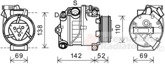 Compresseur, climatisation - VAN WEZEL - 0600K442