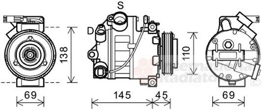 Compresseur, climatisation - VAN WEZEL - 0600K444