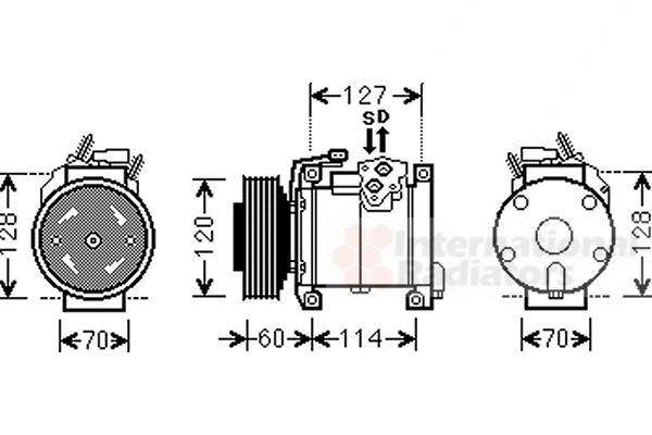 Compresseur, climatisation - VAN WEZEL - 0700K112