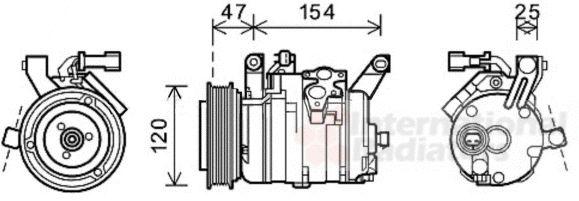 Compresseur, climatisation - VAN WEZEL - 0700K120