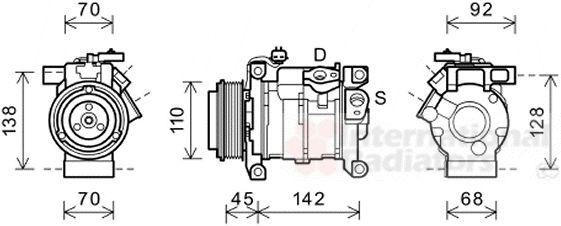Compresseur, climatisation - VAN WEZEL - 0700K128