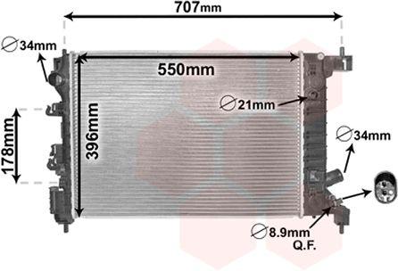 Radiateur, refroidissement du moteur - VAN WEZEL - 08002047