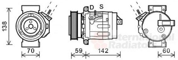 Compresseur, climatisation - VAN WEZEL - 0800K035