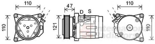 Compresseur, climatisation - VAN WEZEL - 0800K036