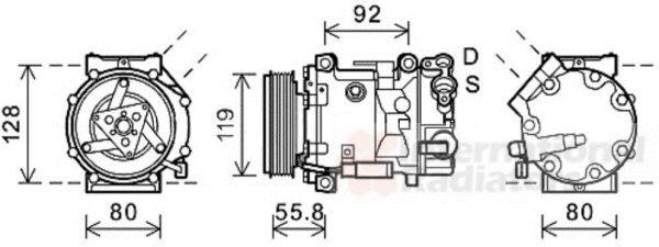 Compresseur, climatisation - VAN WEZEL - 0900K282