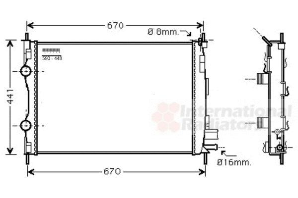 Radiateur, refroidissement du moteur - VAN WEZEL - 13002361