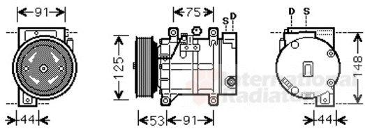 Compresseur, climatisation - VAN WEZEL - 1300K259