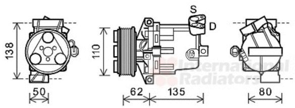 Compresseur, climatisation - VAN WEZEL - 1300K343