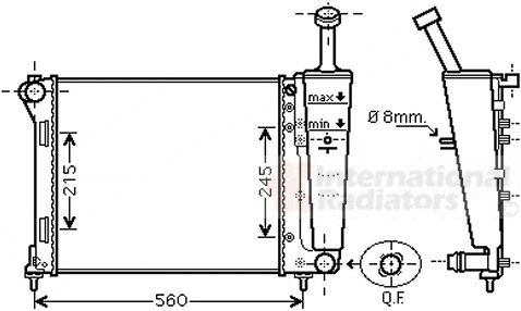 Radiateur, refroidissement du moteur - VAN WEZEL - 17002404