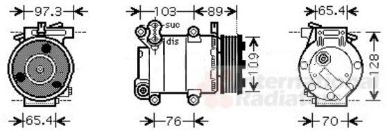 Compresseur, climatisation - VAN WEZEL - 1800K391