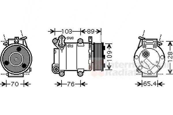 Compresseur, climatisation - VAN WEZEL - 1800K392