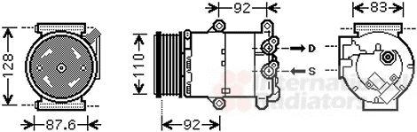 Compresseur, climatisation - VAN WEZEL - 1800K477