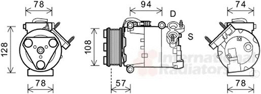 Compresseur, climatisation - VAN WEZEL - 1800K482