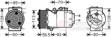 Compresseur, climatisation - VAN WEZEL - 1800K497