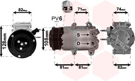 Compresseur, climatisation - VAN WEZEL - 1800K498