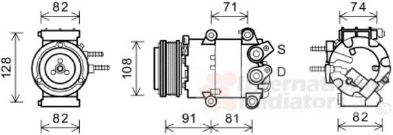 Compresseur, climatisation - VAN WEZEL - 1800K570