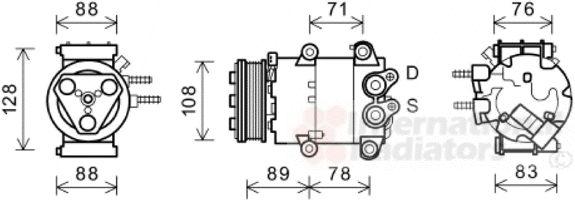 Compresseur, climatisation - VAN WEZEL - 1800K571