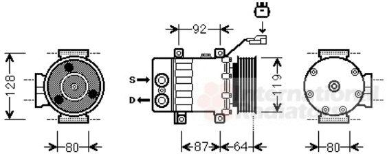 Compresseur, climatisation - VAN WEZEL - 2100K047