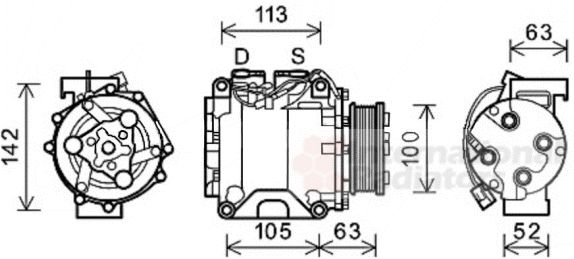 Compresseur, climatisation - VAN WEZEL - 2500K237