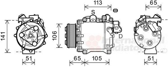 Compresseur, climatisation - VAN WEZEL - 2500K263