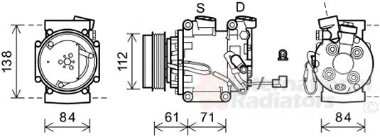 Compresseur, climatisation - VAN WEZEL - 2500K275