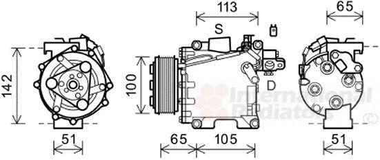 Compresseur, climatisation - VAN WEZEL - 2500K278