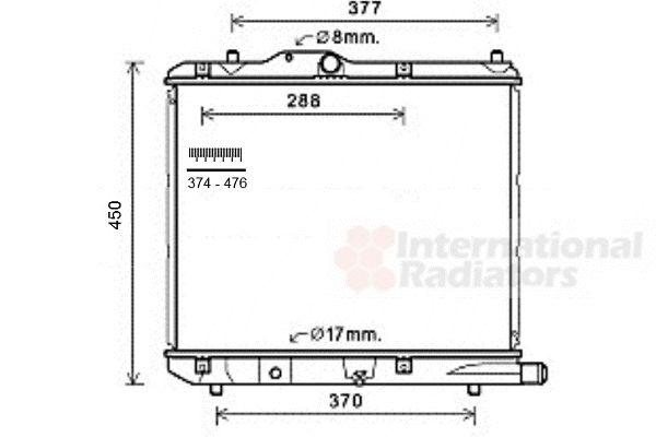 Radiateur, refroidissement du moteur - VAN WEZEL - 37002590
