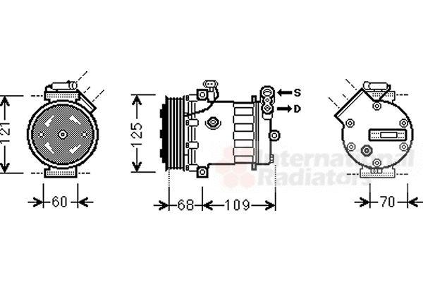 Compresseur, climatisation - VAN WEZEL - 3700K475