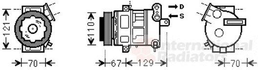 Compresseur, climatisation - VAN WEZEL - 3700K558