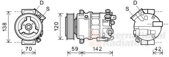Compresseur, climatisation - VAN WEZEL - 3700K576