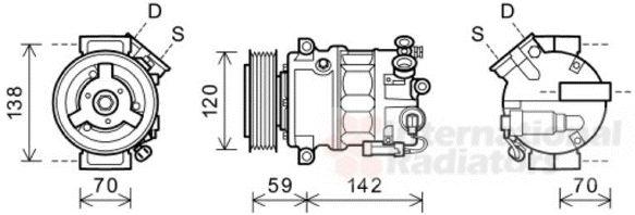 Compresseur, climatisation - VAN WEZEL - 3700K577