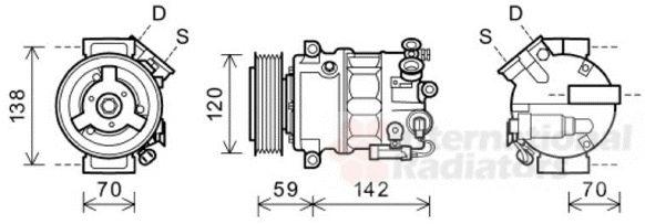 Compresseur, climatisation - VAN WEZEL - 3700K578