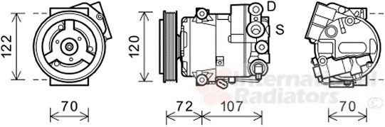 Compresseur, climatisation - VAN WEZEL - 3700K595