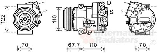 Compresseur, climatisation - VAN WEZEL - 3700K608