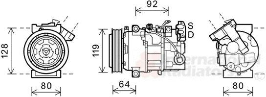 Compresseur, climatisation - VAN WEZEL - 4300K492