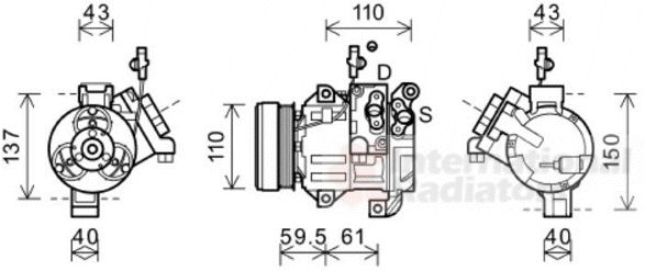 Compresseur, climatisation - VAN WEZEL - 5200K129