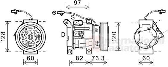 Compresseur, climatisation - VAN WEZEL - 5300K625