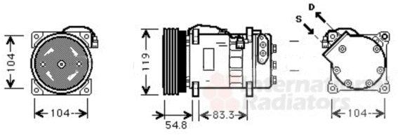 Compresseur, climatisation - VAN WEZEL - 5800K281