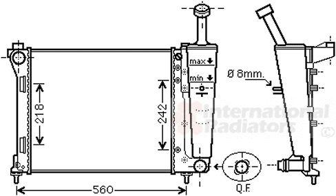 Radiateur, refroidissement du moteur - VAN WEZEL - 73002099
