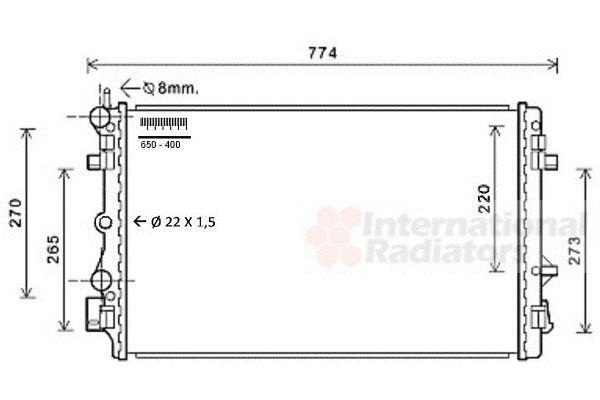 Radiateur, refroidissement du moteur - VAN WEZEL - 76002021