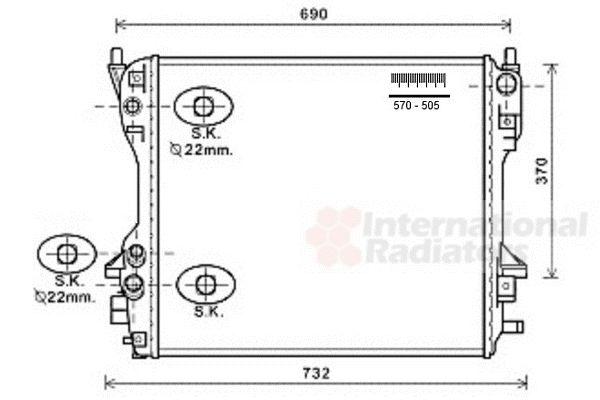 Radiateur, refroidissement du moteur - VAN WEZEL - 77002049