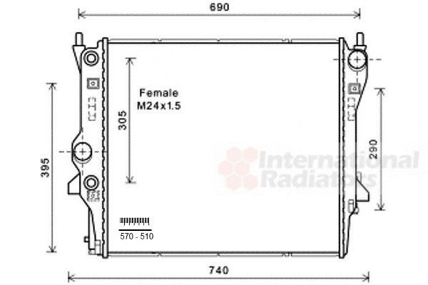 Radiateur, refroidissement du moteur - VAN WEZEL - 77002053